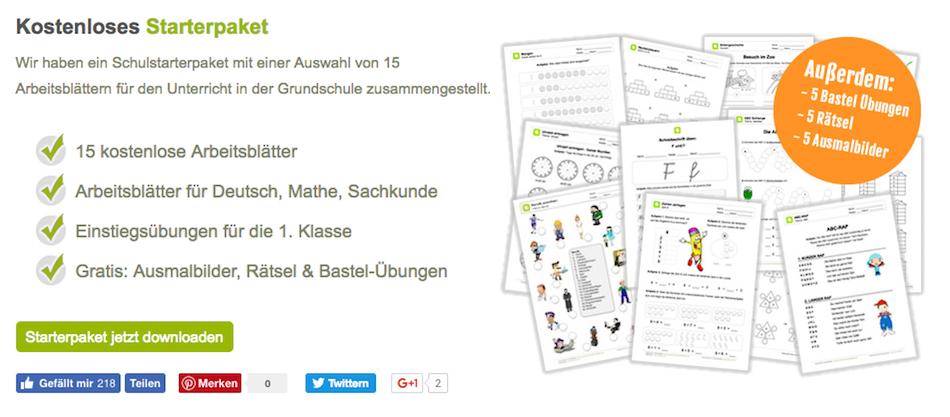 Schulstarterpaket, Grundschule, Arbeitsmaterial, kostenlos, Deutsch, Mathe, Sachkunde