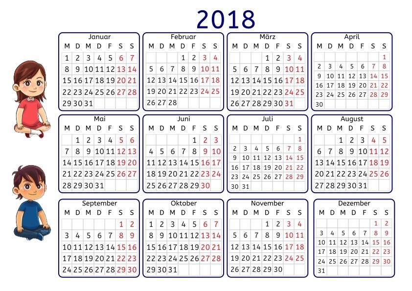 Kalender 2018 mit Übungen