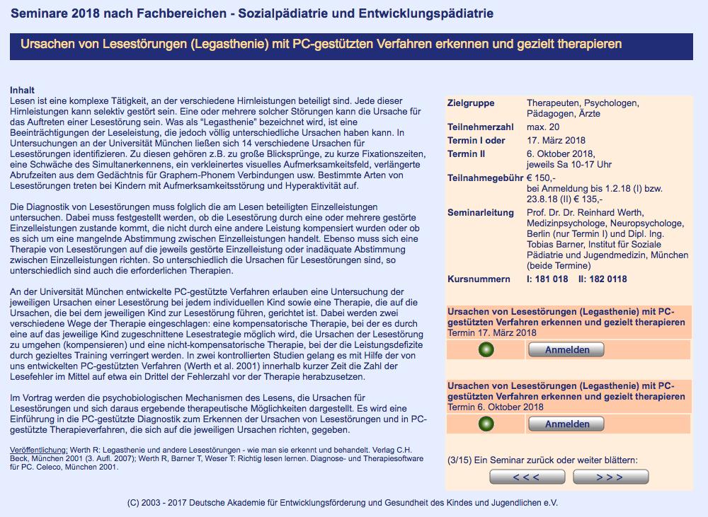 Fortbildung: Ursachen von Lesestörungen (Legasthenie) mit PC-gestützten Verfahren erkennen und gezielt therapieren