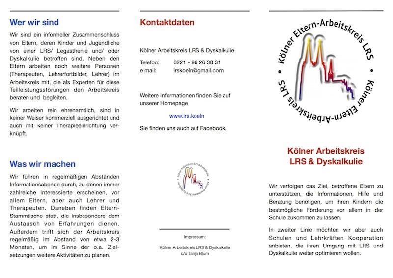 Kölner Arbeitskreis LRS und Dyskalkulie, Legasthenie, Dyskalkulie, Eltern, Arbeitskreis, Köln