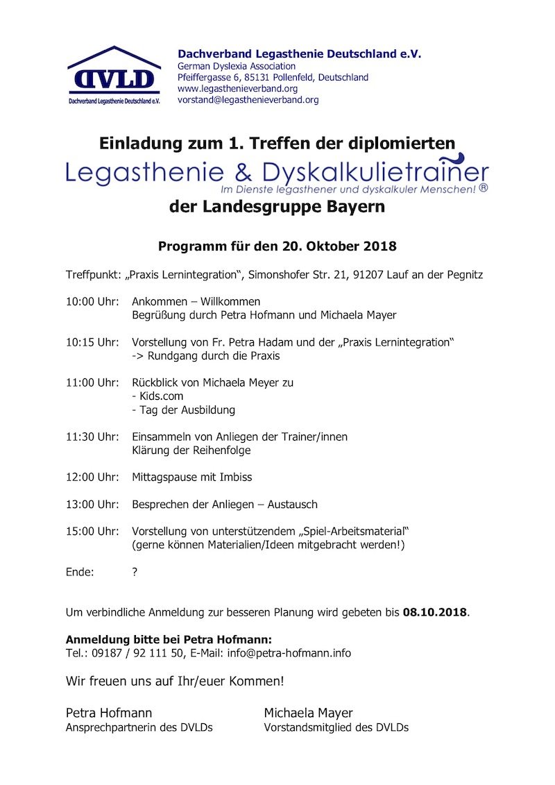 Legasthenie, Dyskalkulie, Bayern