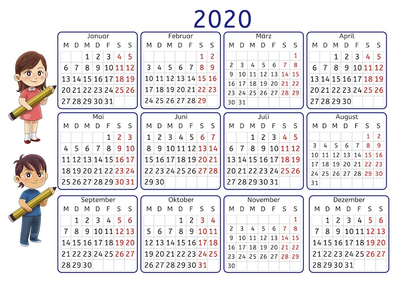 Kalender 2020 mit Übungen